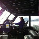 Captain Larry taking us off shore