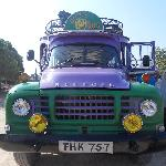 Its a big purple bus!