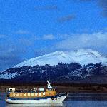 Amanecer desde del lugar de partida Puerto Natales