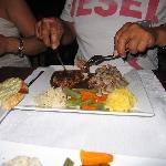 black and white steak