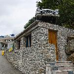 The entrance of the property with the RESTROOM car