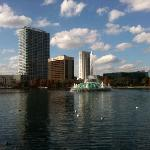 view of the Linton E Allen fountain in Lake Eola with the buildings of northern downtown Orlando