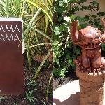 'AMA'AMA sign and statue of Stitch