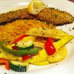 trout with rice and squash