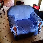 the heavily damaged sofa