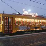 Streetcar illuminated with Holiday scene