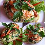 Fried rice with Green curry sauce