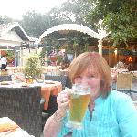 enjoying my mythos beer