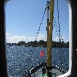 Looking into Bamfield Harbour from the wheelhouse