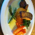 panfried salmon with sweet potatoes mash