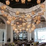 One of the most elaborate chandeliers I have ever seen hangs in the lobby of this hotel.