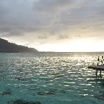 View from our overwater bungalow a bit before sunset.