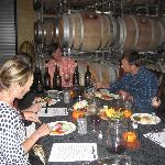 Intimate Wine Tour clients enjoying their gourmet picnic lunch at V. Madrone Cellars in the Napa