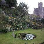 The garden at the base of the Round Tower at Windsor Castle.