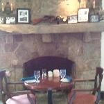 Fireplace near bar