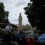 Charlie was our guide on the red line. Here, we're approaching the Houses of Parliament.