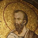 closeup of tile mosaic of St. Paul at Chora Church