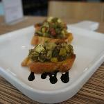 6.	Bruschetta alle Verdure - toasted bread topped with tomatoes and basil, grilled artichokes  a