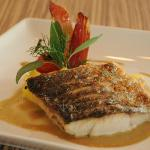 6.	Grilled Seabass – on top of polenta and black olive with pineapple sage sauce