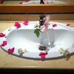 flowers around sink!
