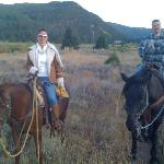 hubby and me on Cash and Zeus