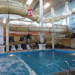 The waterslide and pool