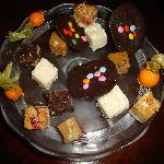 Homemade Petite Fours Walnut Fudge,Coconut Ice,Turkish Delight Physalis in Orange Chocolate Rock
