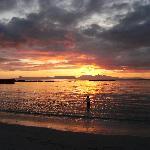 Sunset on beach next to Sunnyside