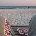Beach chair lounging