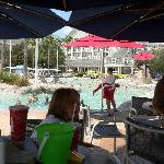 Eating lunch and viewing the sandbottom pool!