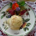 Egg Benedit with ediable flowers picked from the garden