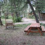 Front of cabin/staff brought us a picnic table