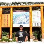 Jay infront of the Grouse Mtn Map at the Resort