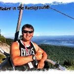 """Jay """"The Funologist"""" on the Chairlift with Mt Baker in the background"""
