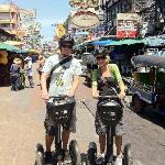 A couple of tourists on a Segway