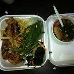 Hibachi Chicken, Noodles, Seaweed Salad, and Miso Soup
