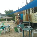Outside view of beach and bar restaurant