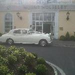 Front of the hotel with wedding car