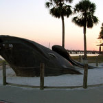 A monument to the right whales that spawn in the waters of St. Simons Sound, along which Neptune
