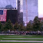 A view of the memorial grounds looking towards the Freedom Tower
