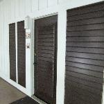 A view of the front entrance with the shutters for ventilation.