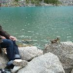 Sitting by Lake Moraine with ground squirrel