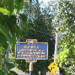 "Historic Marker for the ""Old Well"" dating to early 18th century"