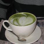 """""""Coffee art"""" on a mocha latte"""