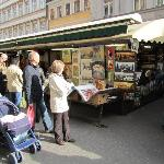 the market stalls on a sunny afternoon