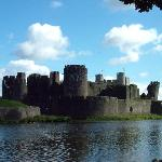 Caerphilly castle view from the other side of the moat