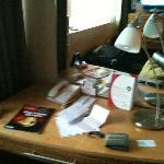 Desk concealing the socket, not ideal
