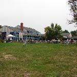 outdoor seating at Jordon's pond