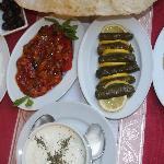 Selection of mezes: haydari, şakşuka, sarma (= dölme), hummus, cacık