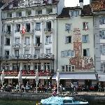 Front of hotel from across the Reuss